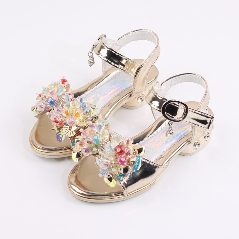 Girls Sandals For Children Princess Shoes Kids Baby Girls Fashion Shoes With Rhinestone Bow Summer High-Heeled Child Party Shoes