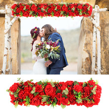 Wedding Artificial Flowers Row for Wall Arched Door Decoration T Station Road Cited Fake Flower Window Christmas Home Decor(China)