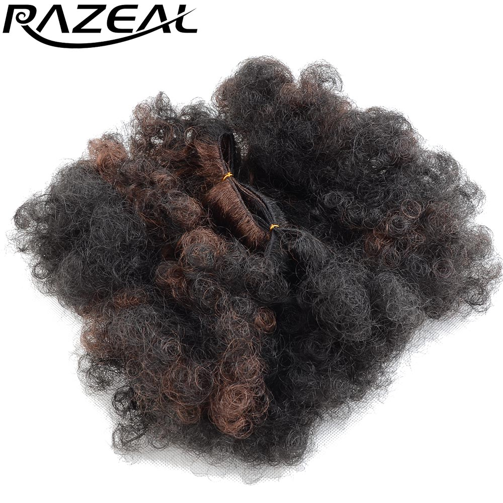 Razeal 5Packs 6inch Ombre color Afro Kinky Curly Hair Weft Synthetic Crochet Hair Extens ...