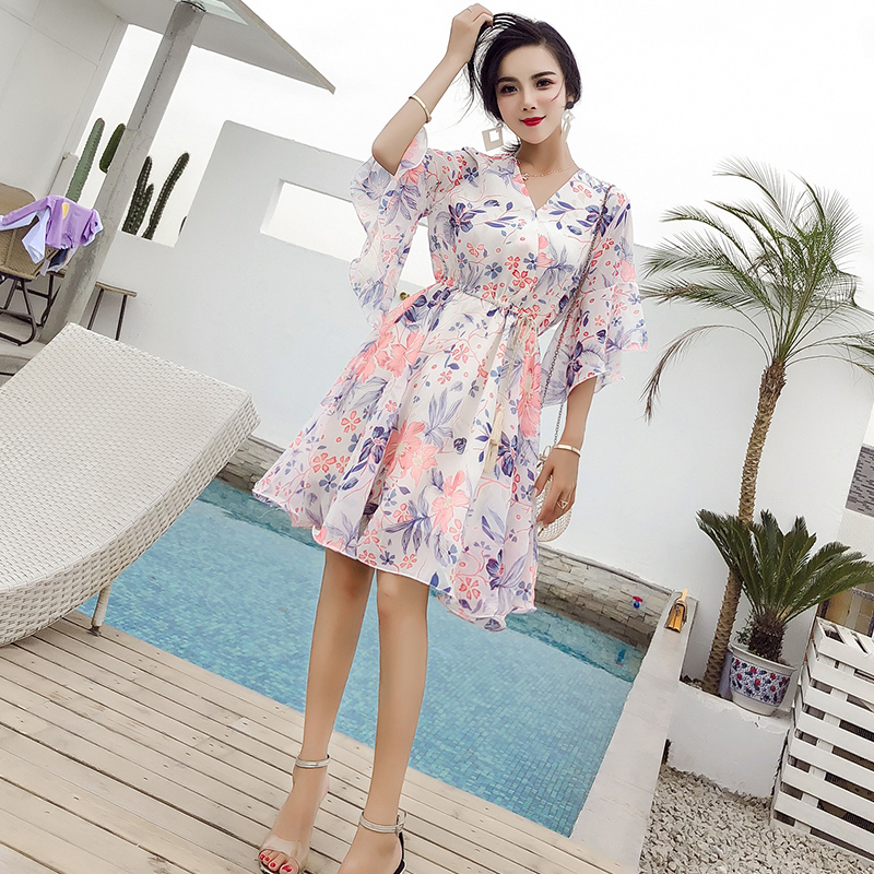 2018 New Summer Women dress Flare Sleeve Print Chiffon V Neck In Long Closed Waist Dresses White Flower Pink Flowers 3305A