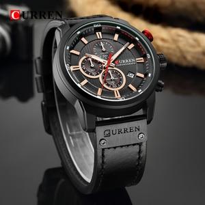 Image 5 - Top Brand Luxury CURREN Fashion Leather Strap Quartz Men Watches Casual Date Business Male Wristwatches Clock Montre Homme 2019