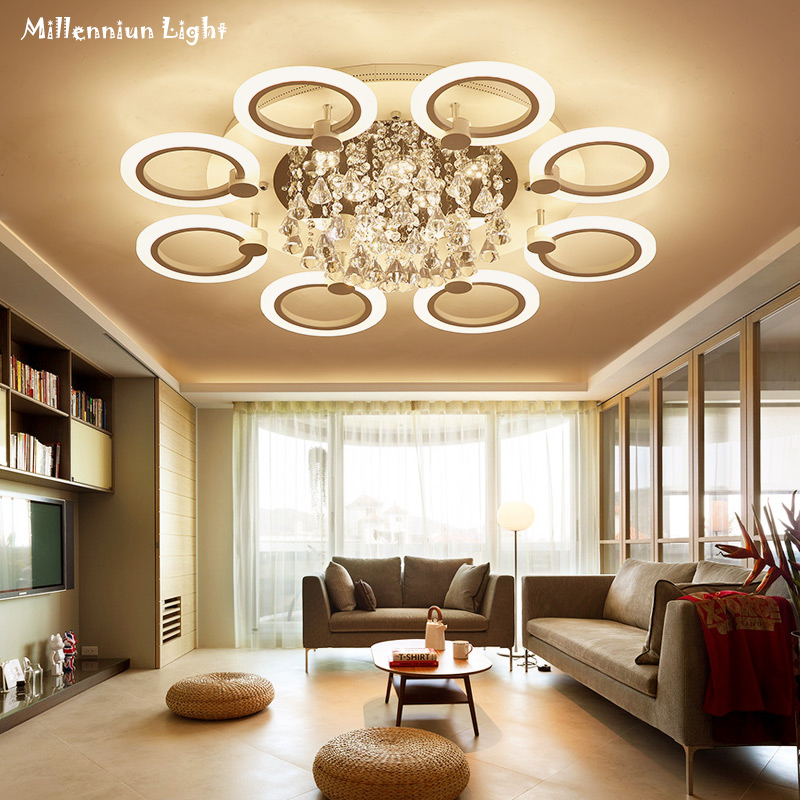 LED ceiling lighting Modern Acrylic bedroom lights crystal chandelier ceiling AC110-260V Variable light remote control fixtures black and white round lamp modern led light remote control dimmer ceiling lighting home fixtures
