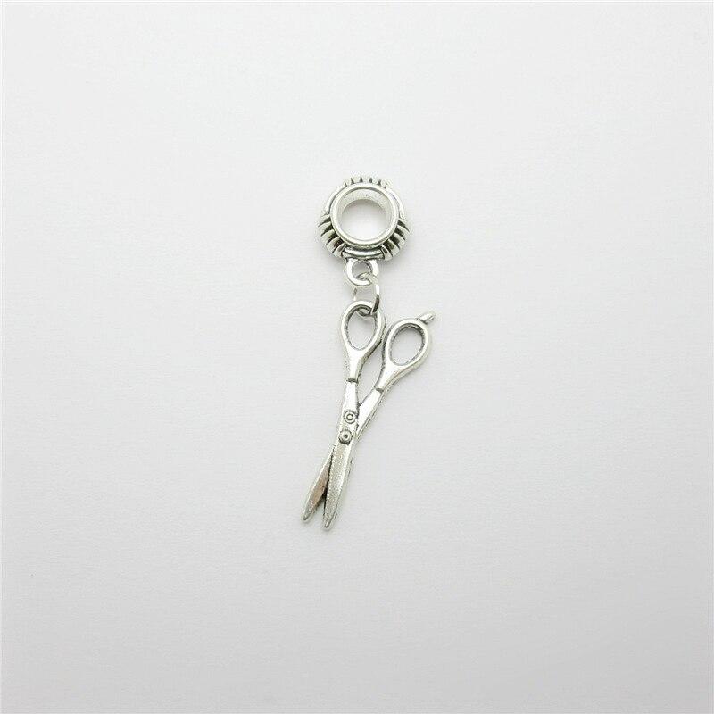 Ancient silver 20pcs scissors charms big hole loose bead fit Pandora bracelet pendants DIY