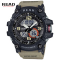 Read dual disp hombres deporte militar de cuarzo del dial redondo grande balanza digital analógico reloj de pulsera del relogio masculino 90001