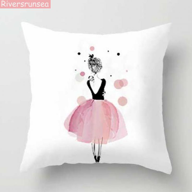 Pink Girl Princess Cushion Paris Flower Eiffel Tower Wave Flamingo Feathers Ballon Plush Fabric Throw Pillows For Party Gifts