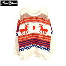JIMMYHANK Autumn Winter Casual Christmas Deer Print Sweater Long Sleeve Irregular Pullover Knitted Jumper Knitwear