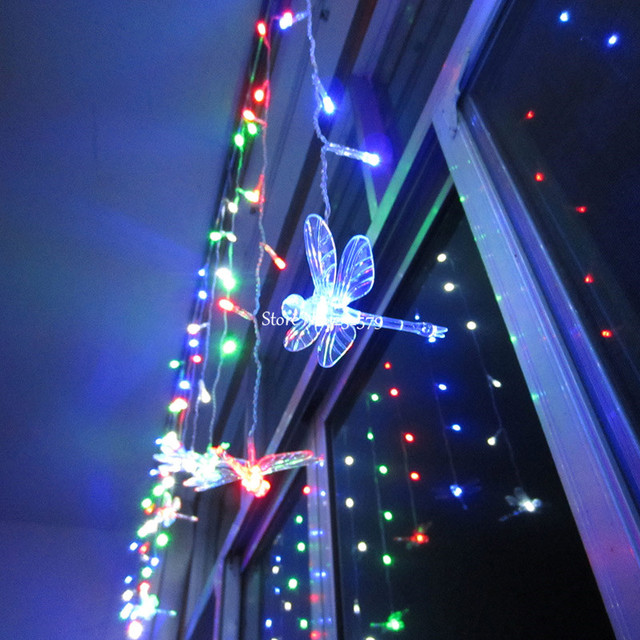 Multi color 4M 100LEDS 18P Dragonfly Curtain String Lights Lamp New     Multi color 4M 100LEDS 18P Dragonfly Curtain String Lights Lamp New Year  Garden Xmas Wedding