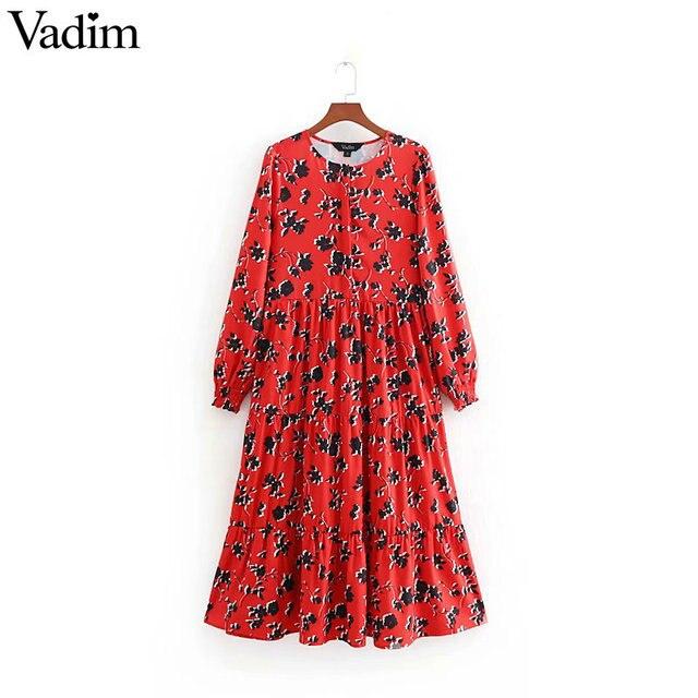 Women Floral Print Mid Calf Shirt Dress Long Sleeve O Neck Pleated Casual Retro Midi Dresses Vestidos Mujer Qb295