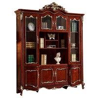 Европейский стиль античная твердая деревянный книжный шкаф книжная полка кабинета Классическая Рабочий стол с кресло для мебель для Кабин