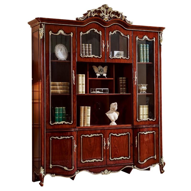 Европейский стиль в античном стиле из твёрдой древесины книжный шкаф Книжная Полка Шкаф Классический Рабочий стол с подлокотником стул для