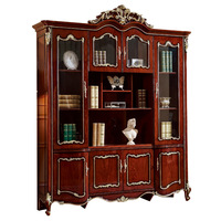 European style antique solid Wood Bookcase Bookshelf book cabinet Classical study Desk With arm Chair for study room furniture