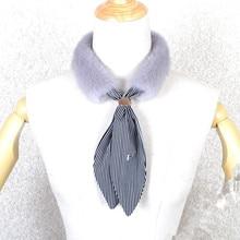 Real mink fur collar Genuine scarf fashion new design women gray black  fake F699