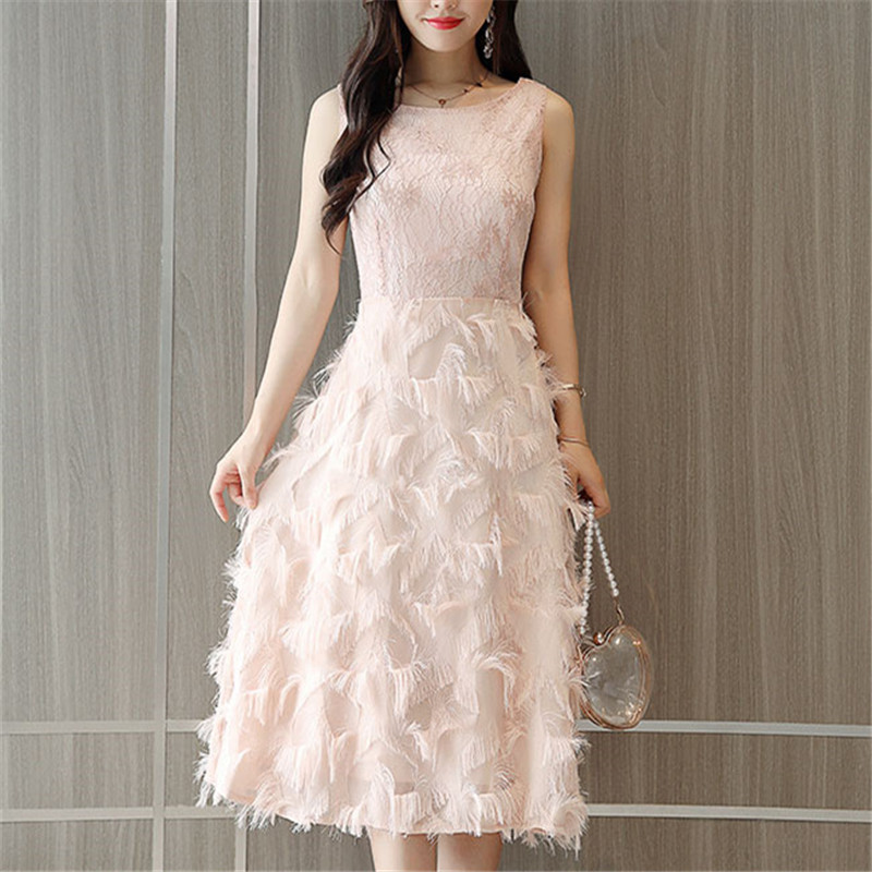 Summer Fashion Women Sexy Lace Patchwork Vest Elegant Dress Vintage Dress Tassel Feather Slim Sleeveless Party Dresses