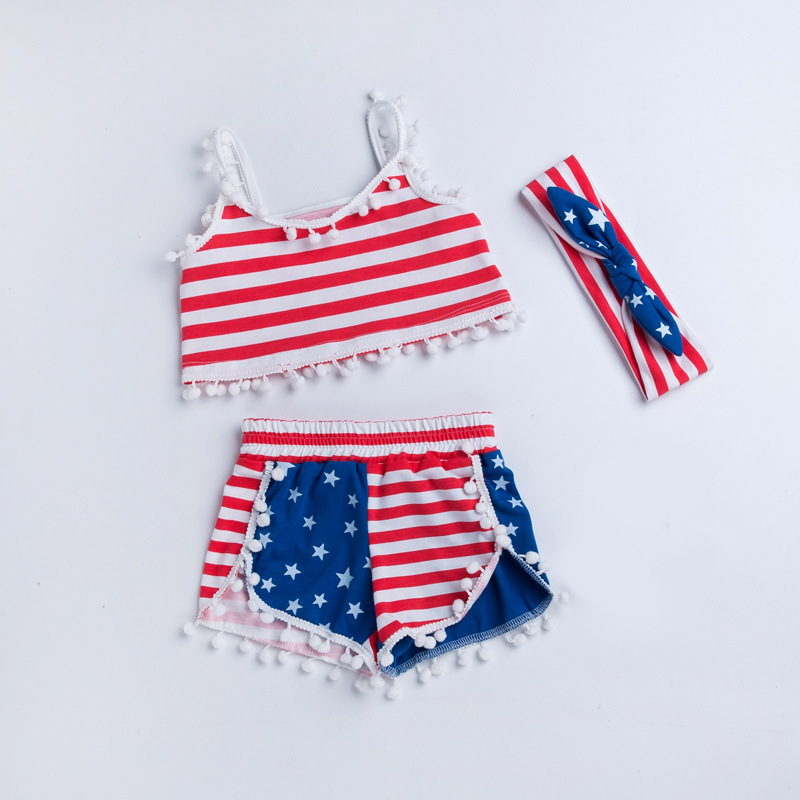 Summer Sleeveless Baby Sets American Flag July 4th Striped Vest+Tassel Shorts+Headband 3Pcs Outfits Toddler Clothing 1-4 Years 4th july america flag style stripe pettiskirt white ruffle tank top 2pc set 1 8year mamg1143