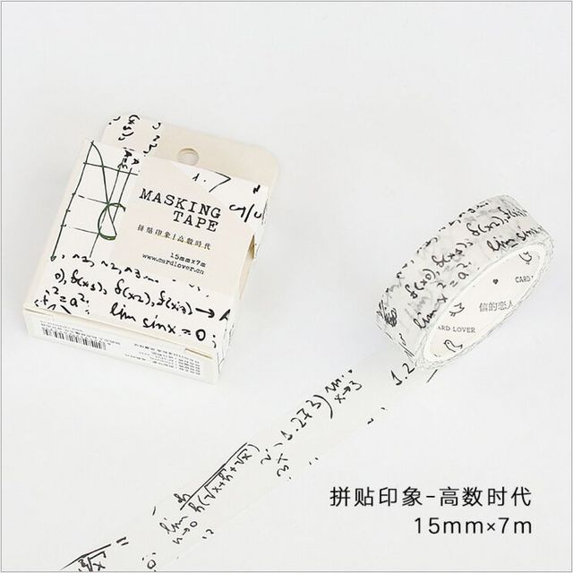 15mm wide mathematical formula collage decoration washi tape diy