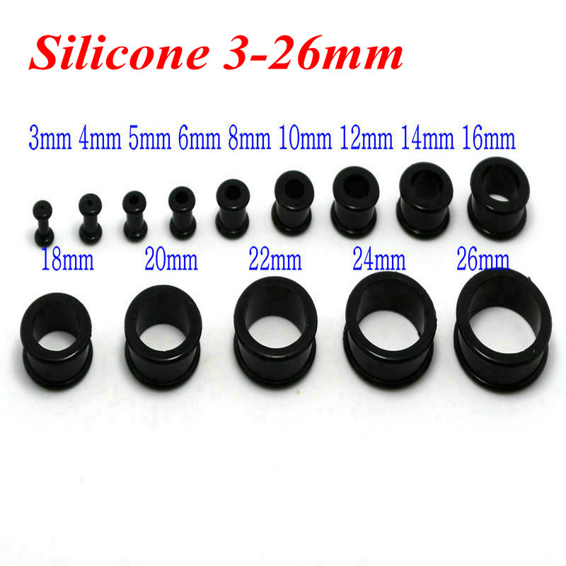 3-26mm black white 1pair silicone double flare ear plugs flesh tunnel gauges expander stretching wholesale body piercing jewelry Harley-Davidson Sportster
