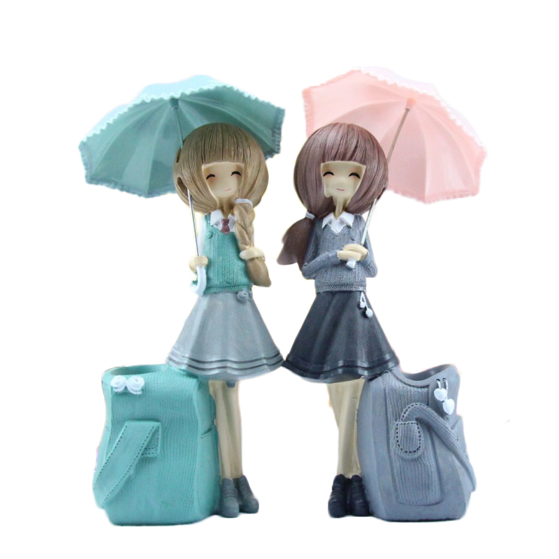 Home Decor Umbrella Girl Pen holder Gift Resin Miniature Beautiful Girl Figurine Ornaments Toys Decoration Gifts Desktop Crafts