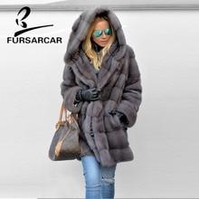 FURSARCAR 2019 Hot Luxury Real Mink Fur Coats Women Full Pelt Thick Warm Jacket With Big Hood Female Winter Coat