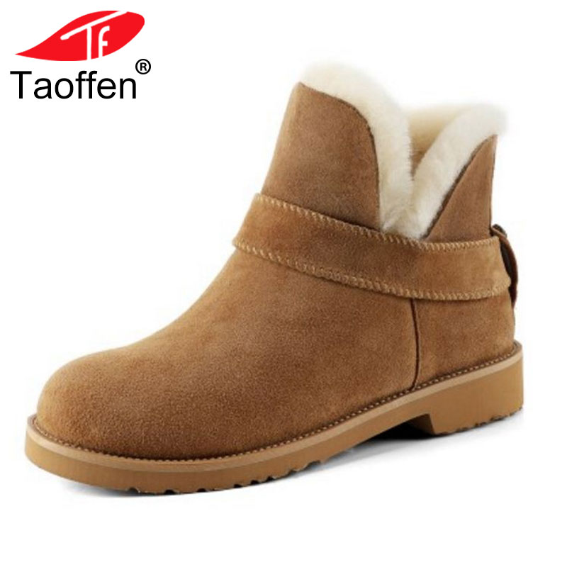 TAOFFEN Women Genuine Real Leather Ankle Boots Snow Plush Fur Winter Shoes Women Round Toe Warm Boots Quality Shoes Size 32-41 best selling top quality women hidden wedge winter warm snow boots plush inside platform round toe motorcycle boots shoes