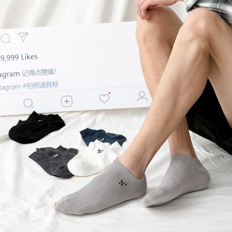 Socks Man 2019 New Men Socks 5 Pairs Cotton Solid Color Short Invisible Socks Spring Letter Breathble High Quality Men's Socks