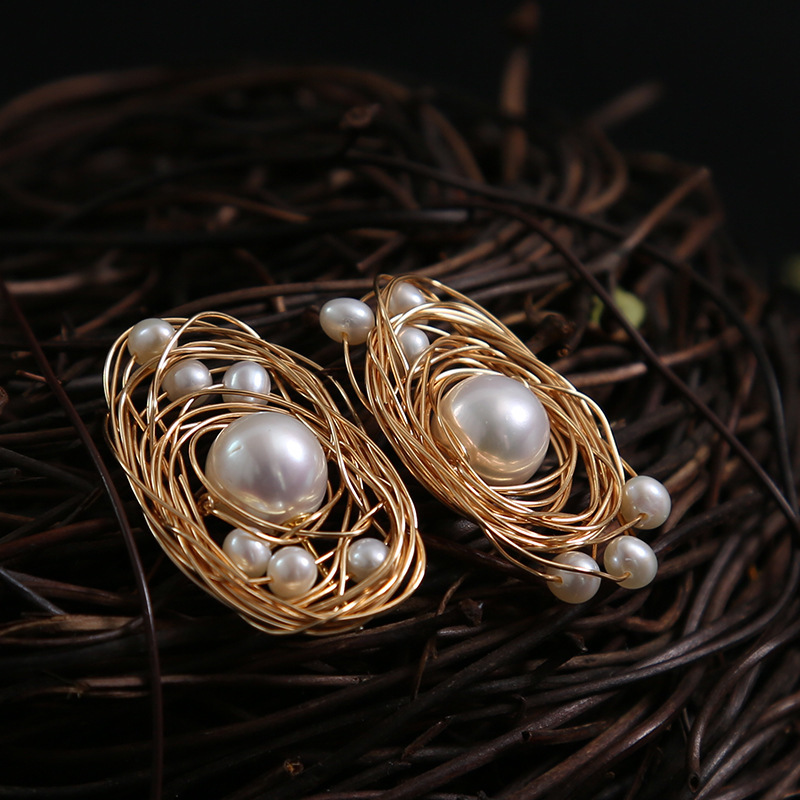 Natural pearl 14 k gold injection do not fade satellite series fashionable chic stud earrings wholesaleNatural pearl 14 k gold injection do not fade satellite series fashionable chic stud earrings wholesale