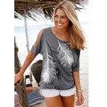 T-shirt do Sexo Feminino Durável Impressão Camisas Femininas Roupas Plus Size Para As Mulheres Fora Do Ombro Curto-de mangas compridas Femme Tops