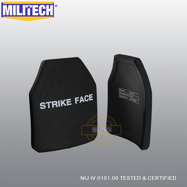 MILITECH 2 PCs Curve SIC & PE NIJ IV Bulletproof แผง NIJ IV Stand Alone Ballistic แผ่น NIJ LVL 4 คอมโพสิตเกราะ