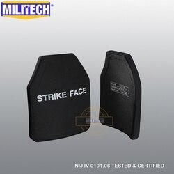 MILITECH dos piezas de curva SIC y PE NIJ IV a prueba de balas paneles NIJ IV sola placas balísticas de NIJ Lvl 4 de la armadura