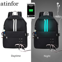 Waterproof Anti Theft Reflective Backpack Women Earphone Hole and USB Charging Port Drawstring Bow Backpacks Laptop Bookbag Girl