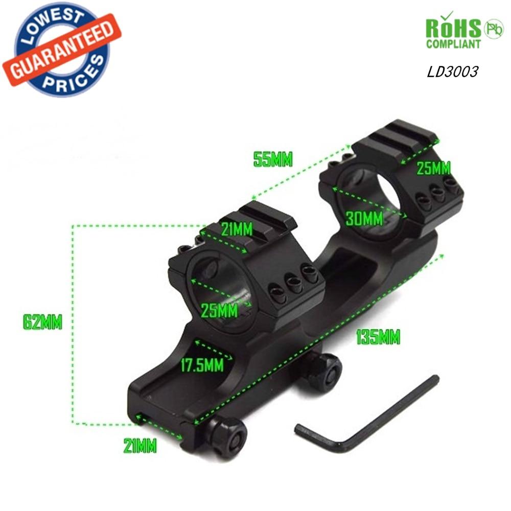 1PC LD3003 30mm Dual Ring Cantilever ScopeMount Picatinny Weaver Rail 25MM gun hunting mount for Tactic flashlight 25mm gun rail mount 2 pack