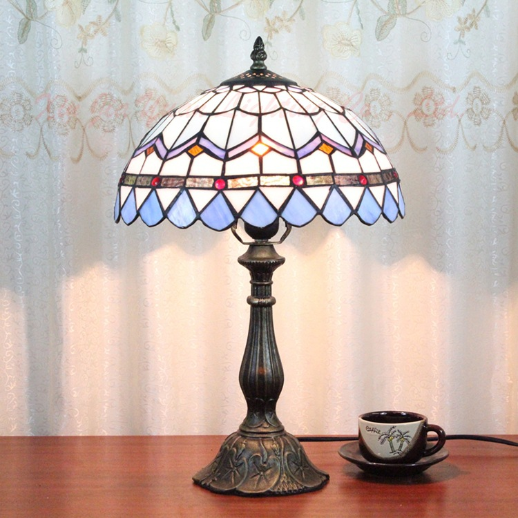 12 Inch Mediterranean Stained Glass Lampshade Tiffany Table Lamp Country Style Bedside Lamp E27 110-240V