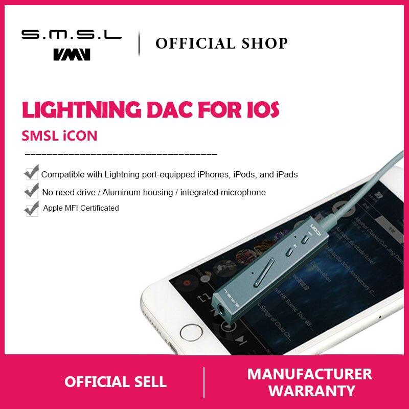 SMSL Icon Tragbare Amp Blitz Eingang Decoder DAC/Verstärker und Kopfhörer Verstärker Eingebaute Mikrofon für iPhone iPad IOS