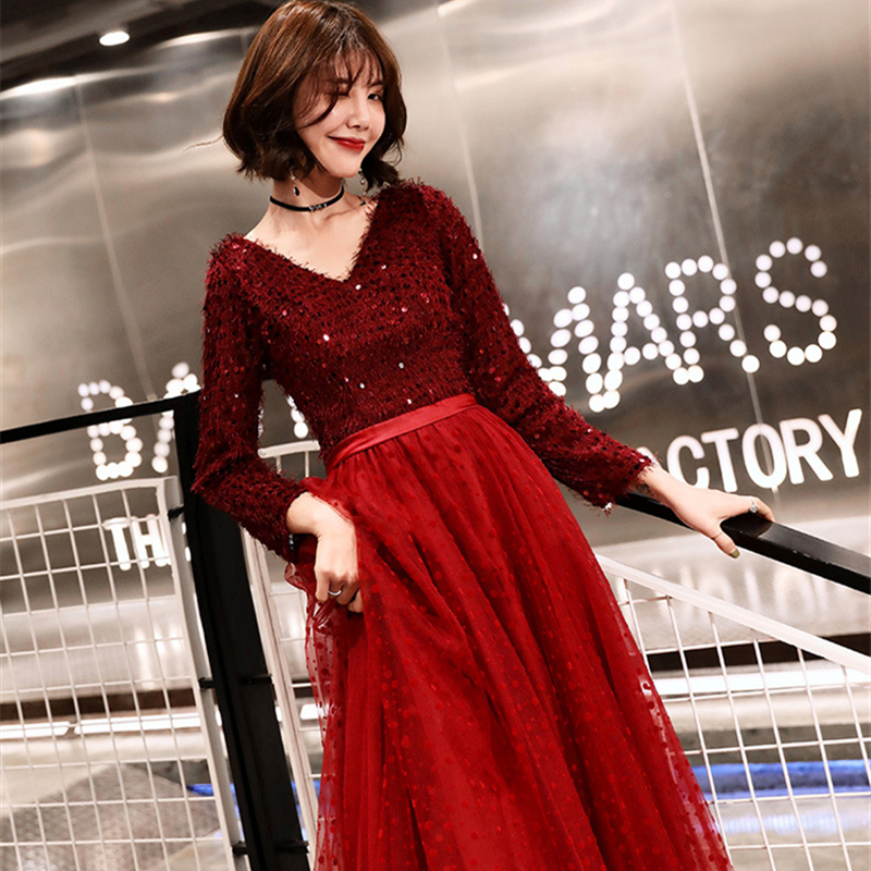 Evening     Dresses   Plus Size V-neck Sequined Tassel Long Formal Prom   Dress   Lace Illusion Full Sleeve A-line Zipper Party Gowns E399