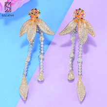 SISCATHY Trendy Flower Long Dangle Tassel Earring for Women Luxury Wedding Full Micro CZ Cubic Zircon Bohemia Earrings Jewelry
