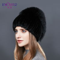 ENJOYFUR Real Fox Fur Hat Female Natural Mink Fur Women Winter Hats Vertical Rhinestones High Quality Beanies 2018 Fashion Caps