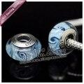 2 pcs S925 prata esterlina Carretel Azul Contas de Vidro Murano Europa Charme Beads Serve dora Charme Pulseiras colares & pingentes/ZS140