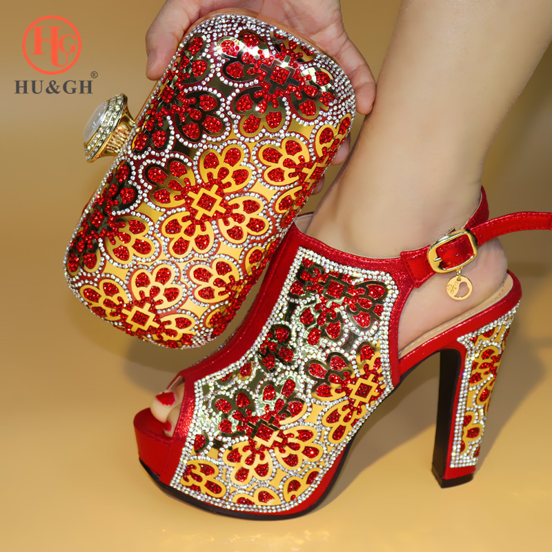 Red Color African Shoe and Bag Set Women Italian African Party Pumps Shoes and Bag Italian Shoes with Matching Bags Wedding shoe new fashion italian shoes with matching bags for party black color african shoes and bags set for wedding 10 cm shoe and bag set page 3