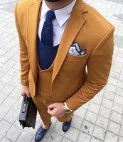 2017 последние конструкции пальто брюки желтый коричневый двубортный Мужской Костюм приталенный костюм Тощий 3 шт смокинг на заказ Блейзер