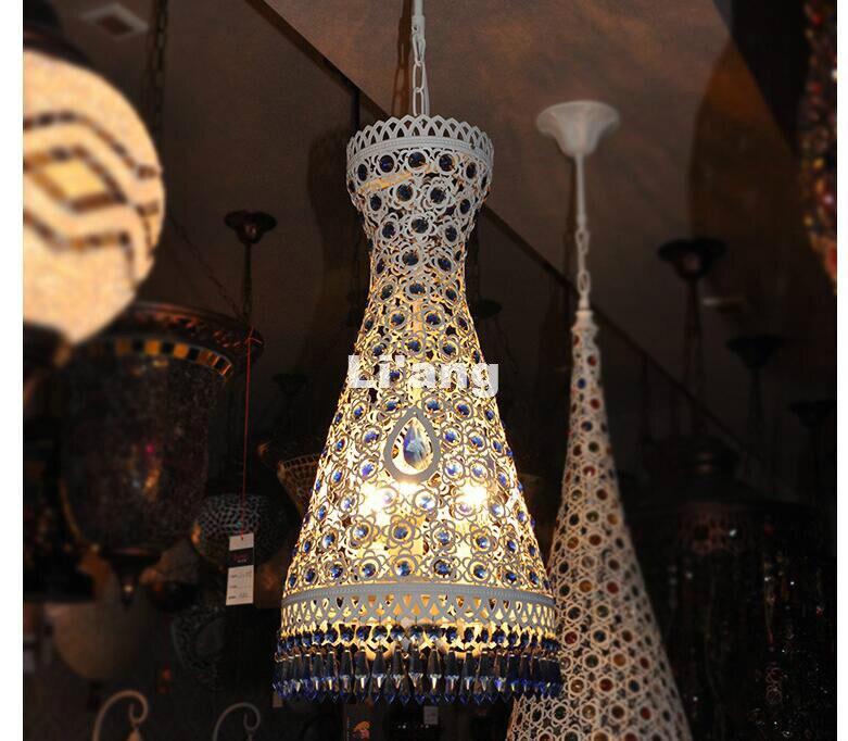 Free Shipping White Blue Colorful Bohemia Pendant lamp D27cm H58cm Bohemia Pendant Light 110V~220V Crystal Decora Pendant Lamp аксессуары sonance vc60s decora white
