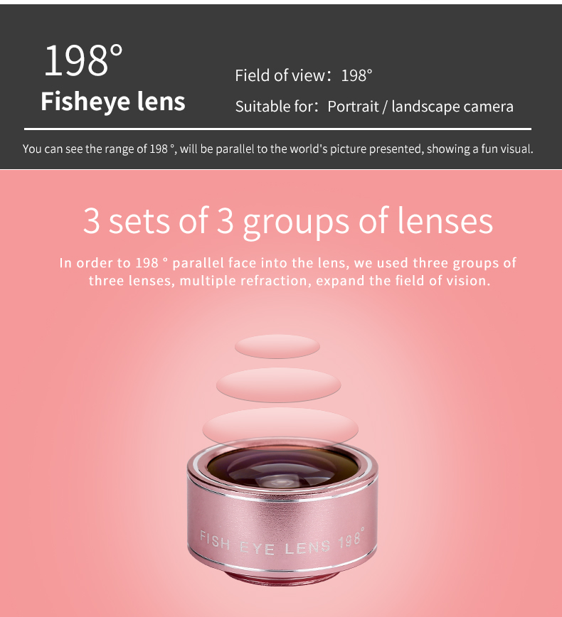 Fish eye Lens 4in 1 Clip-on Cell Phone Camera 180 Degree Fisheye Lens+Wide Angle CPL+Macro Lens for iPhone 7Plus Xiaomi & More 17