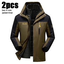 5XL 6XL Brand-Clothing Warm Winter Jacket Men/Women Two In One Down Parka Coat Thick Waterproof Snow Jacket Windbreaker CF004