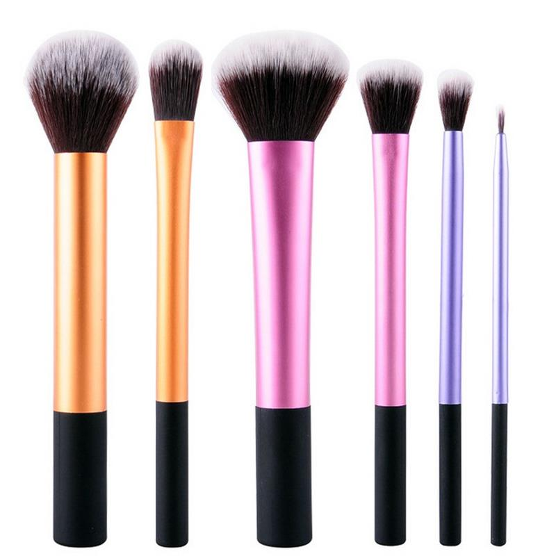 6Pcs Liquid Foundation Eye Shadow Makeup Brushes Eyeliner Powder Blush Brush Tools Soft Professional Cosmetic Brushes Kit free shipping 3 pp eyeliner liquid empty pipe pointed thin liquid eyeliner colour makeup tools lfrosted silver