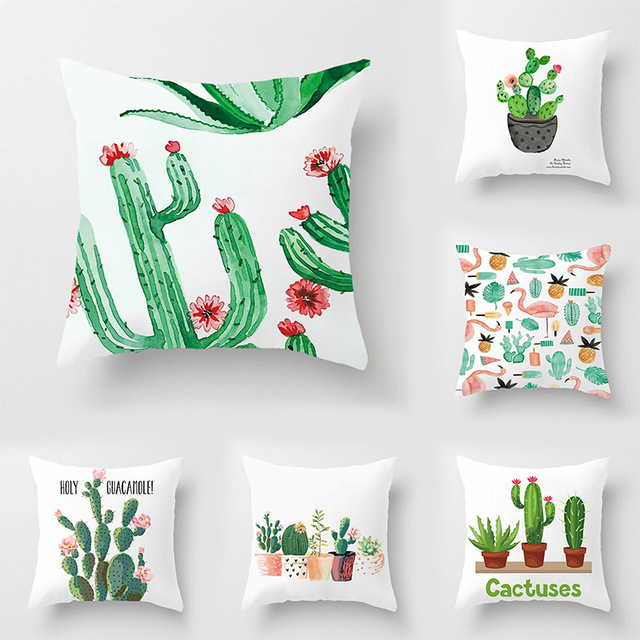 Factory direct plant cactus polyester printing square pillowcase home bedding cushion cover sofa pillow car seat square cushion