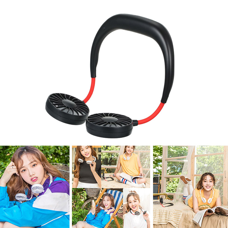 USB Portable Fan Hands Free Neck Fan Hanging Rechargeable Mini Sports Fans Personal Mini 3 Speed Adjustable For Home Office