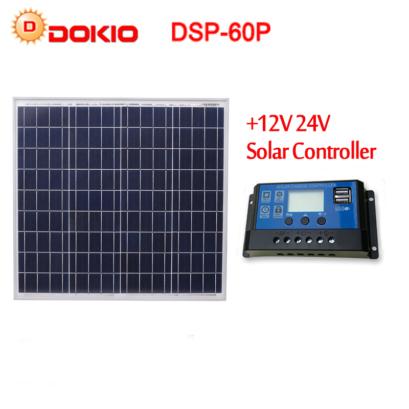 DOKIO Brand 60W 18 Volt Solar Panel China + 10A 12/24 Volt Controller 60 Watt Cell/Module/System Charger/Battery Solar Panels dokio brand 60w 18 volt solar panel china 10a 12 24 volt controller 60 watt cell module system charger battery solar panels