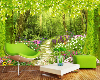 цена на beibehang Customized Size Photo Wallpaper Forest path flower grass Landscape Background Wall Mural Living Room Bedroom wallpaper