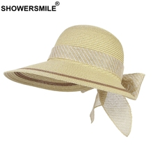 SHOWERSMILE Summer Hats For Women Sun Protection Ladies Paper Straw Hat Striped Bowknot Casual Wide Brim Female Beach