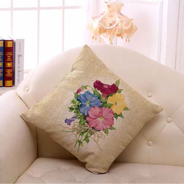 Retro Floral Patterned Cotton Cushion Cover