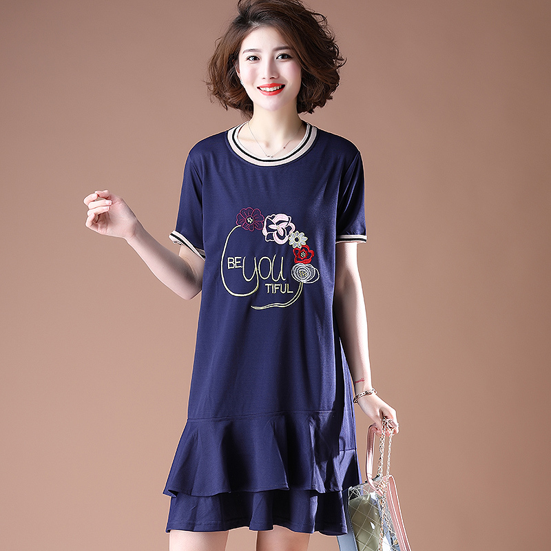 0195 Plus Size Dresses For Women 4XL 5XL Embroidery Floral Short Sleeve Round Neck Cotton Ruffles Pleated Dresses Ladies Mini in Dresses from Women 39 s Clothing