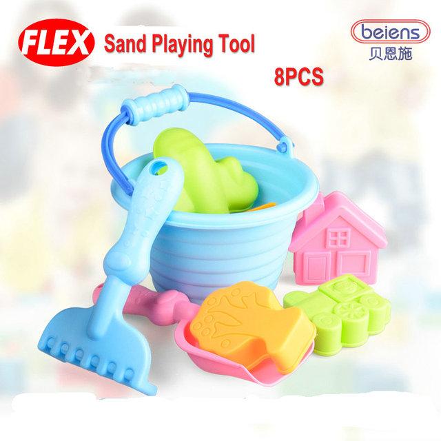 8 unids/set alta calidad marca Super PP plástico suave juguete del baño del bebé herramientas de juego de arena para niños juguetes de playa verano de los niños juguetes exterior